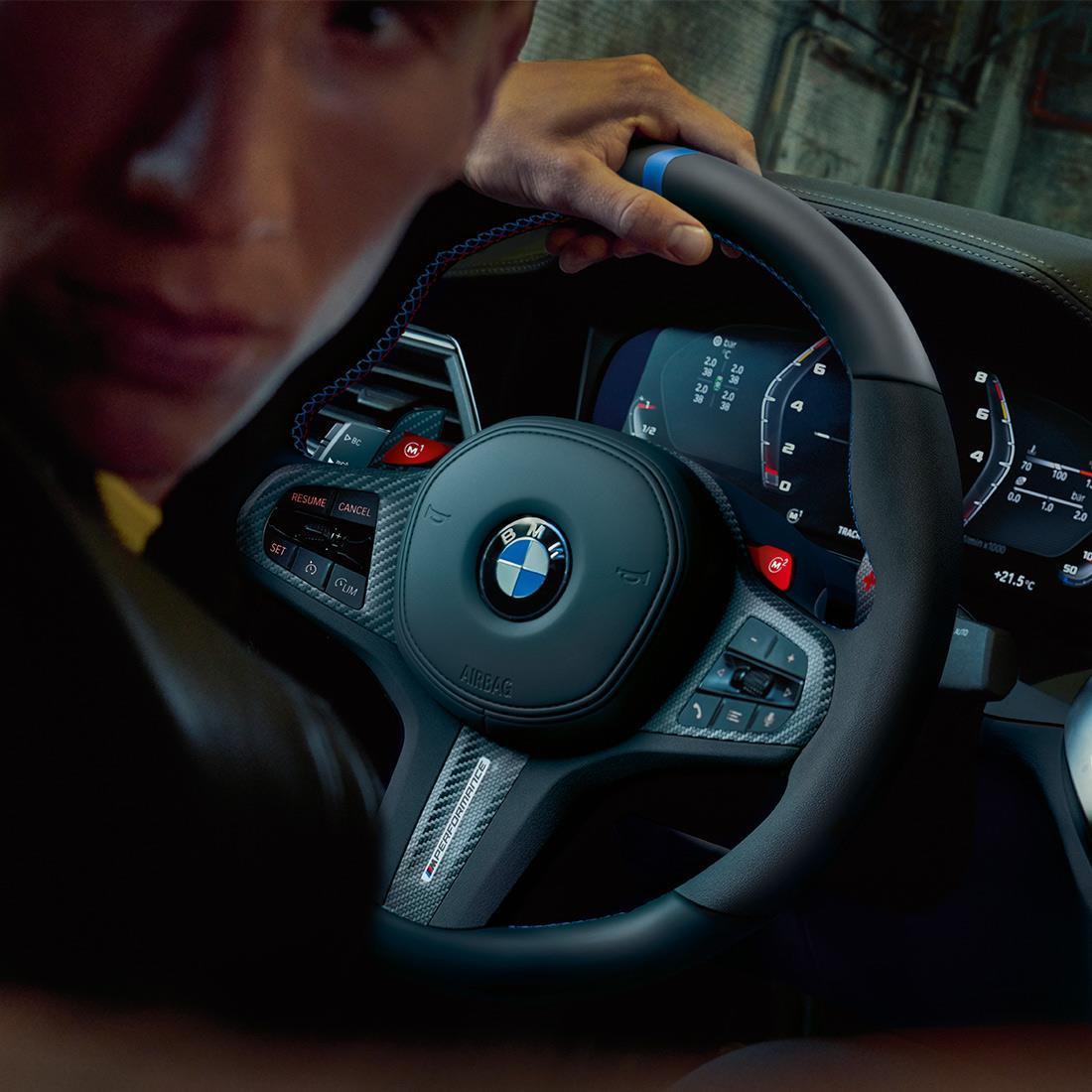 M Performance Steering wheel cover in carbon fiber/Alcantara