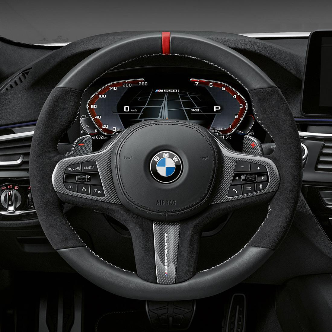 M Performance Cover in carbon fiber/Alcantara for steering wheel