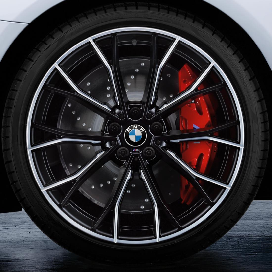 BMW 20-Inch M Performance Double-spoke 669M Complete Performance Wheel and Tire Set - Bi-color Jet Black Matte and Gloss-Milled