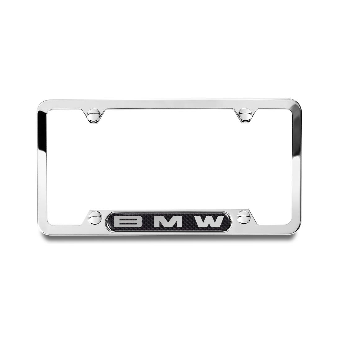 BMW Polished Frame with BMW Logo on Carbon Fiber