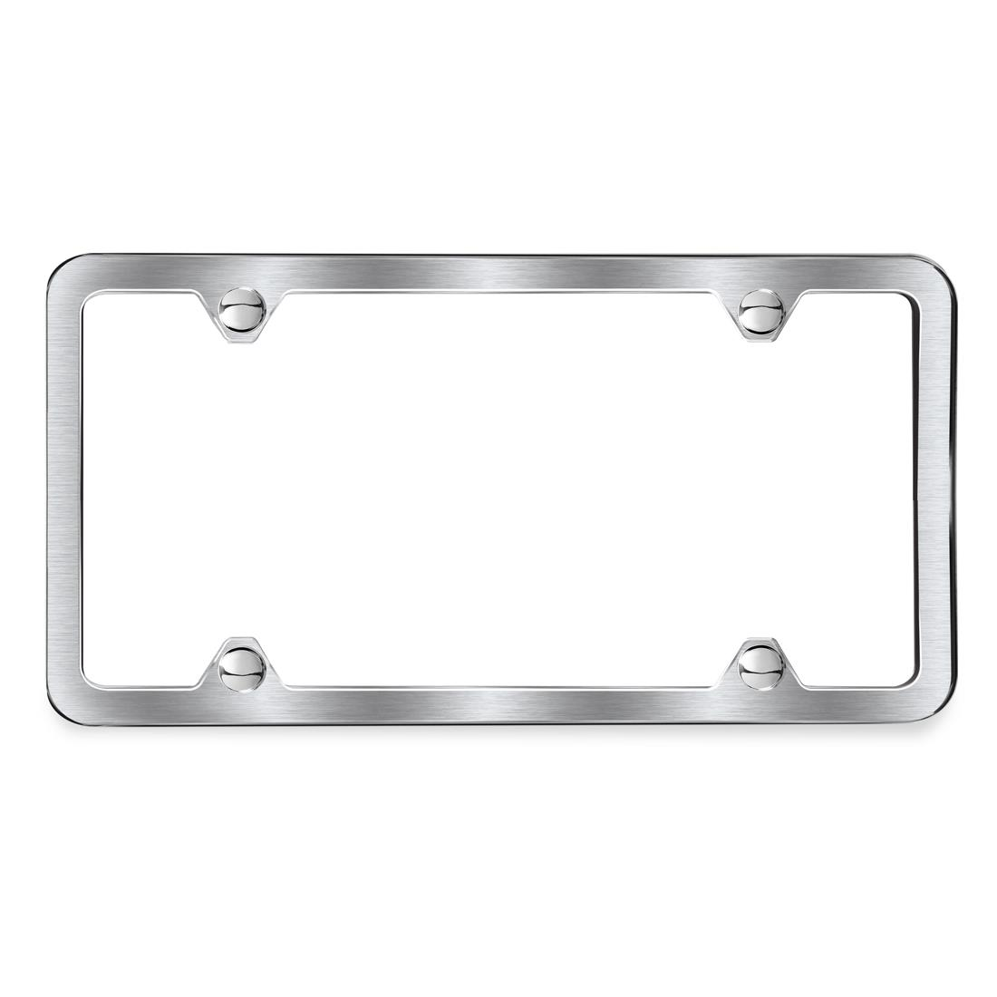 Brushed slimline license plate frame