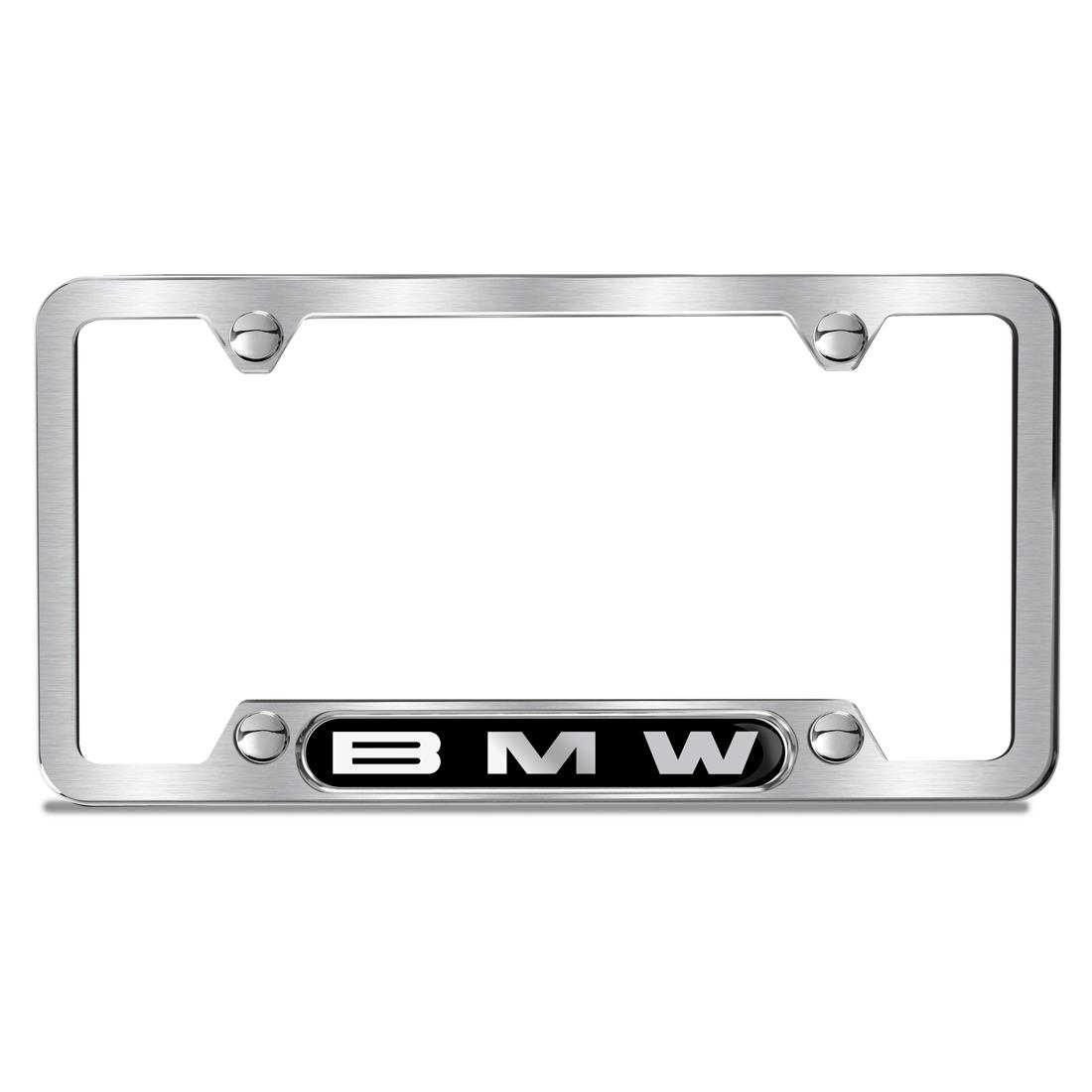 BMW Brushed BMW Lettering Plate Frame, Silver