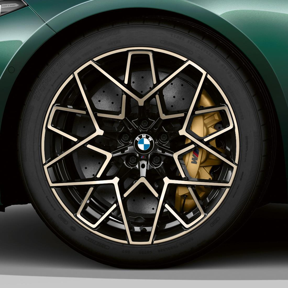 """BMW M Performance Style 813M 20"""" Star Spoke Complete Wheel and Tire Set in Jet Black and Gold Bronze"""