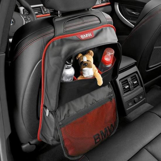 BMW Seat back storage pocket black/red