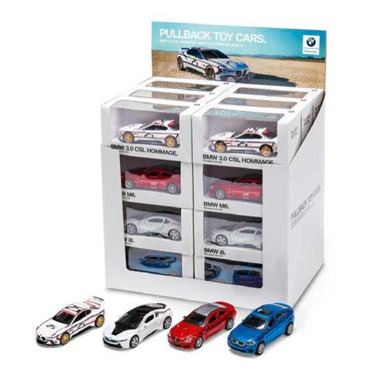 BMW Pullback Box 1:41 - BMW X6 M, BMW i8, BMW M6 Coupe, BMW 3.0 CSL